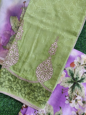 Designer Green Embroidered Pashmina Winter Dress Material with Chiffon Dupatta VN17
