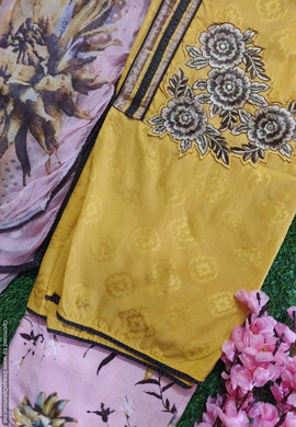 Designer Yellow Embroidered Pashmina Winter Dress Material with Chiffon Dupatta VN25