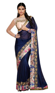 Blue Satin Georgette Floral Border Saree Ishaya - Ethnic's By Anvi Creations