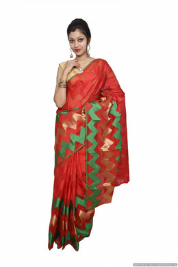 Designer Red Jequard Cotton Silk with Zari Stripes Saree JS89 - Ethnic's By Anvi Creations