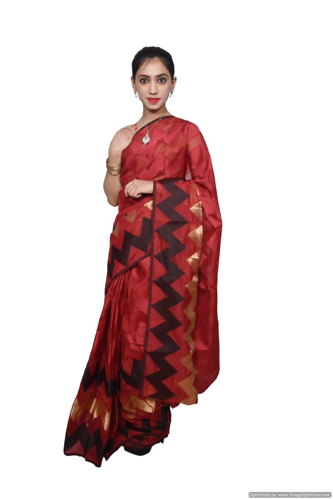 Designer Maroon Jequard Cotton Silk with Zari Stripes Saree JS96 - Ethnic's By Anvi Creations