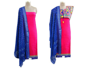 Exclusive Pink Cotton Dress Material With Kutchi Embroidered Ethnic Jacket JSD14 - Ethnic's By Anvi Creations