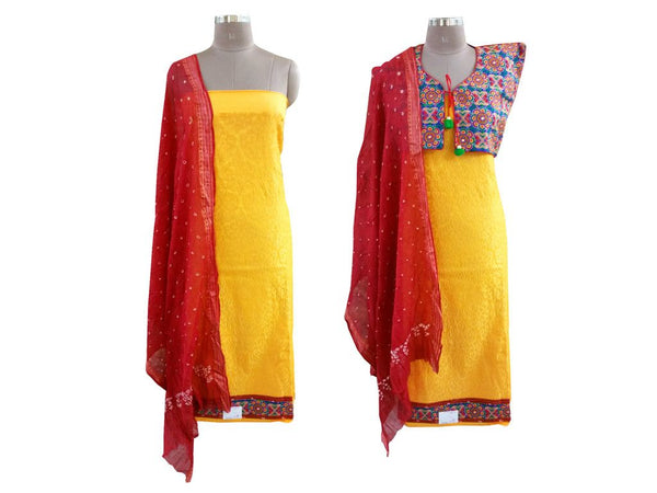 Exclusive Yellow Cotton Dress Material With Kutchi Embroidered Ethnic Jacket JSD20