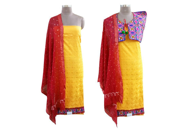 Exclusive Yellow Cotton Dress Material With Kutchi Embroidered Ethnic Jacket JSD21