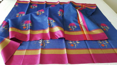 Designer Blue Kota Cotton Embroidered Saree KCS100 - Ethnic's By Anvi Creations