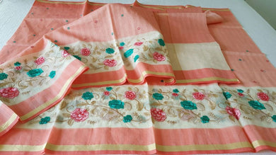 Designer Peach Kota Cotton Embroidered Saree KCS101 - Ethnic's By Anvi Creations