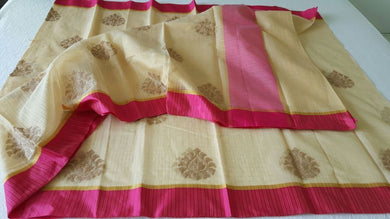 Designer Beige Kota Cotton Embroidered Saree KCS103 - Ethnic's By Anvi Creations