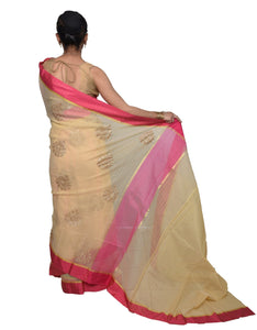 Designer Beige Kota Cotton Embroidered Saree KCS103