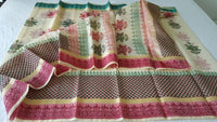 Designer Beige Block Printed Kota Cotton Saree KSC106