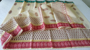 Designer Beige Block Printed Kota Cotton Saree KSC107 - Ethnic's By Anvi Creations