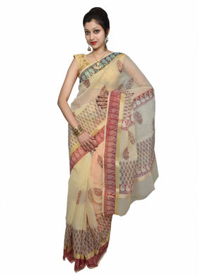 Designer Beige Block Printed Kota Cotton Saree KSC107
