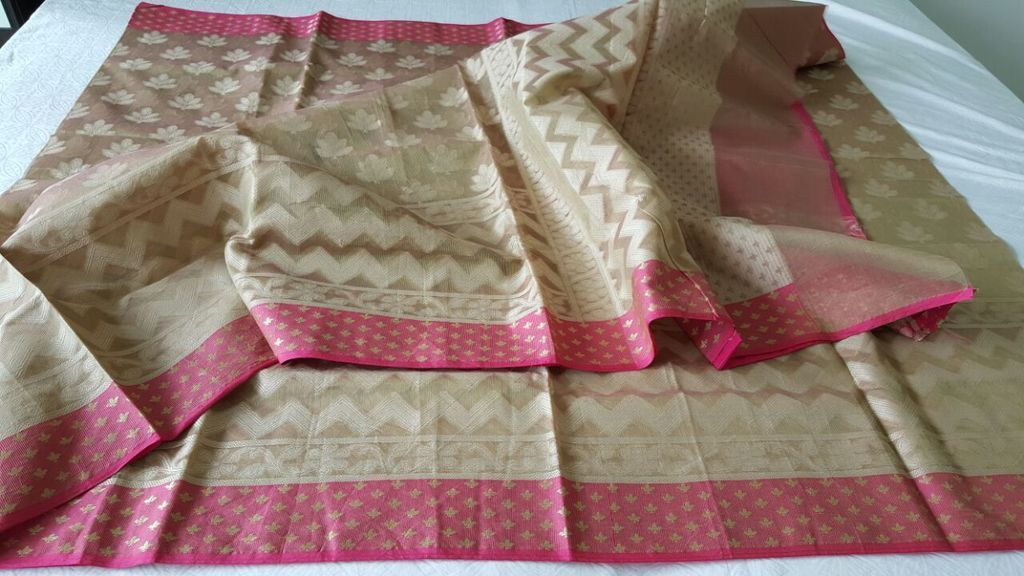 Designer Exclusive Deep Beige Pink Border Kota Weaven Saree KCS109 - Ethnic's By Anvi Creations
