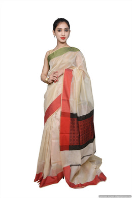 Designer Exclusive Cream Weaven Palla Kota Cotton Saree KCS110
