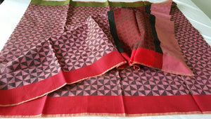 Designer Pink Printed Weaven Palla Kota Cotton Saree KCS113 - Ethnic's By Anvi Creations