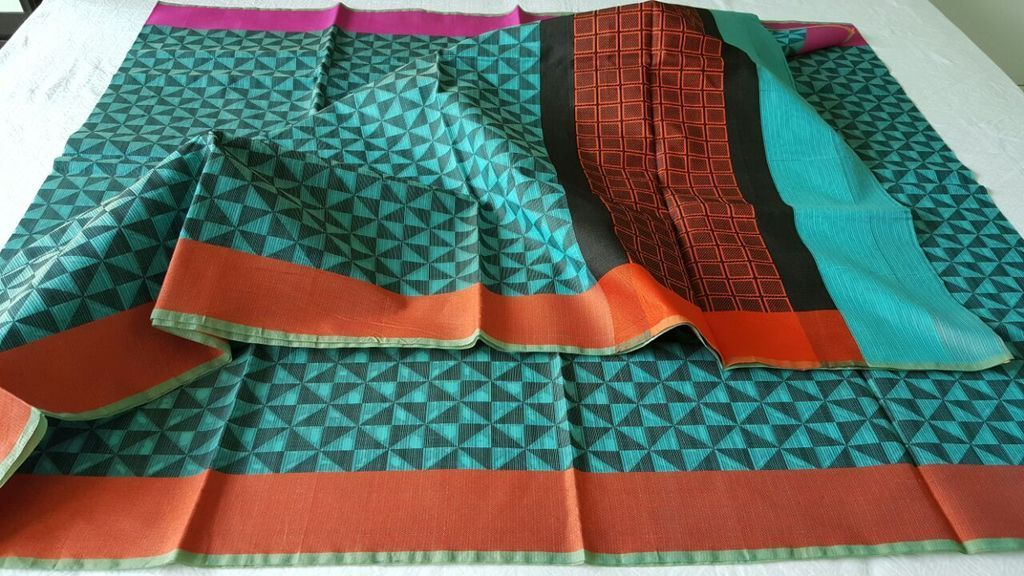 Designer Green Printed Weaven Palla Kota Cotton Saree KCS114 - Ethnic's By Anvi Creations
