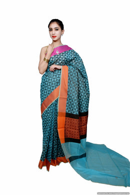 Designer Green Printed Weaven Palla Kota Cotton Saree KCS114