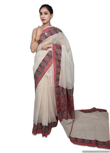 Designer Off White Kota Cotton Saree with Weaven Border KCS115