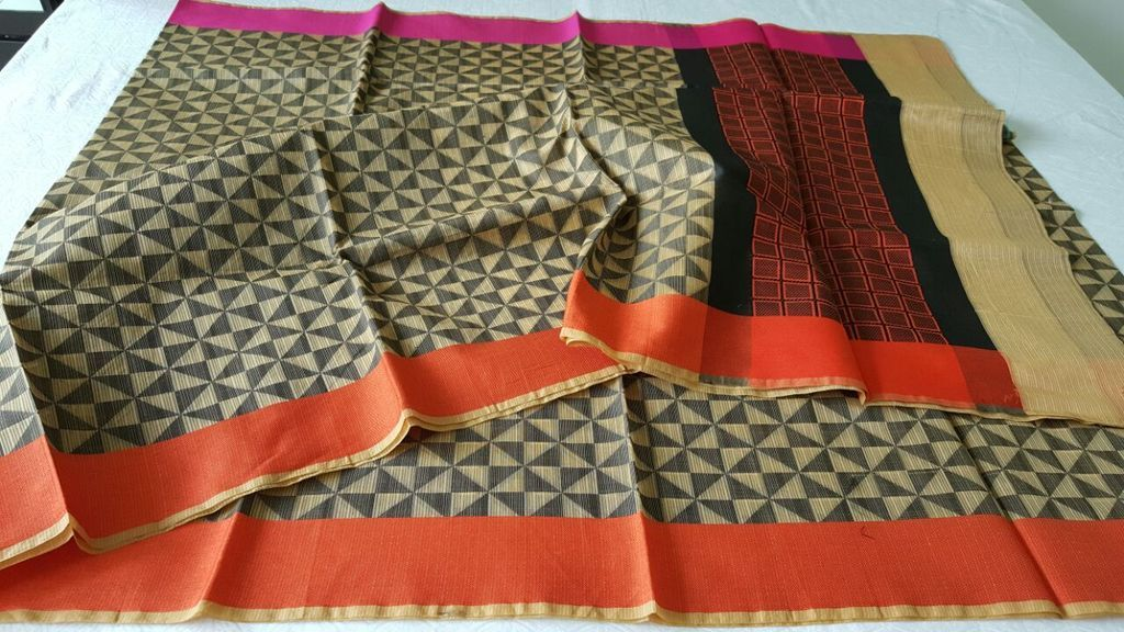 Designer Yellow Printed Weaven Palla Kota Cotton Saree KCS116 - Ethnic's By Anvi Creations