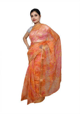 Designer Orange Zari Weaven Kota Shibori Saree KCS118 - Ethnic's By Anvi Creations