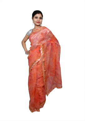 Designer Orange Zari Weaven Kota Shibori Saree KCS121 - Ethnic's By Anvi Creations
