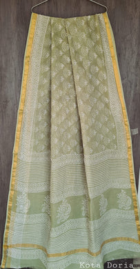 Light Green Block Printed Pure Kota Cotton Saree with Blouse fabric KCS123
