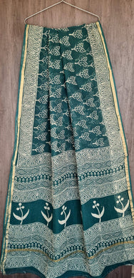 Teal Green Block Printed Pure Kota Cotton Saree with Blouse fabric KCS124