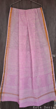 Load image into Gallery viewer, Light Pink Block Printed Pure Kota Cotton Saree with Blouse fabric KCS127