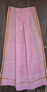 Light Pink Block Printed Pure Kota Cotton Saree with Blouse fabric KCS127