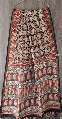 Black Beige Block Printed Pure Kota Cotton Saree with Blouse fabric KCS128