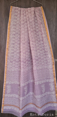 Light Purple Block Printed Pure Kota Cotton Saree with Blouse fabric KCS130