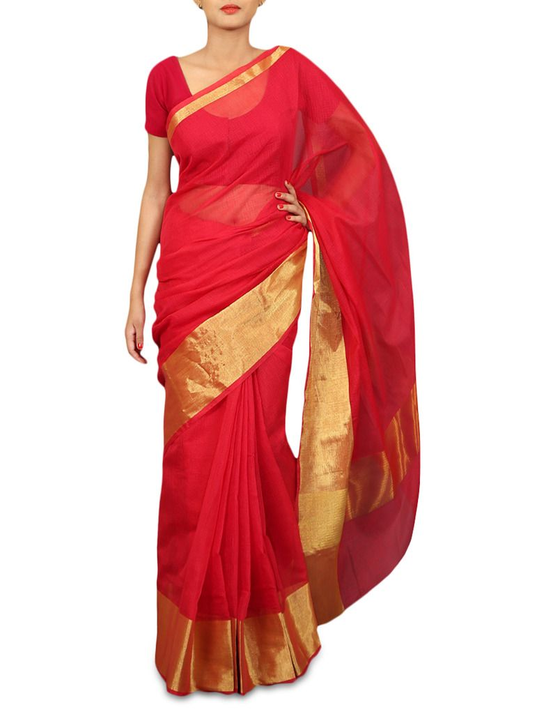 Red Kota Cotton Zari Border Saree with Running Blouse KCS61 - Ethnic's By Anvi Creations