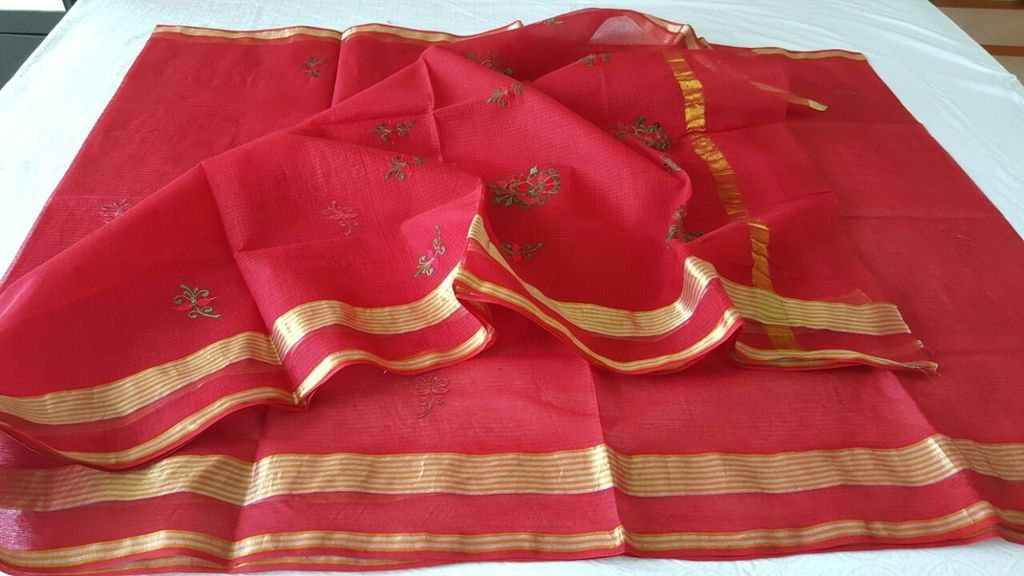 Designer Red Kota Cotton Embroidered Saree KCS68 - Ethnic's By Anvi Creations