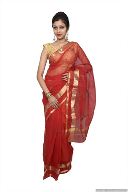 Designer Red Kota Cotton Embroidered Saree KCS68