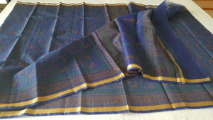 Designer Blue Gold Border Kota Cotton Printed Saree KCS70 - Ethnic's By Anvi Creations