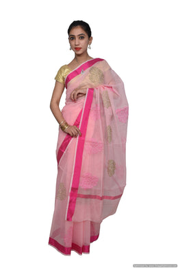 Designer Pink Kota Cotton Embroidered Floral Motif Saree KCS79