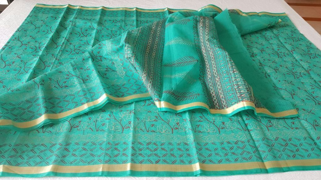 Designer Green Gold Border Kota Cotton Printed Saree KCS81 - Ethnic's By Anvi Creations
