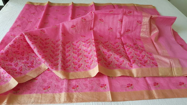 Designer Pink Kota Cotton Embroidered Saree KCS98