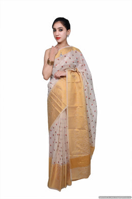 Designer Cream Kota Cotton Embroidered Saree KCS99