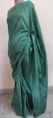 Exclusive Green Katan Ghicha Saree with Pure Ikkat Silk Blouse KG02