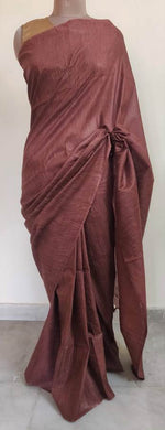Exclusive Rust Brown Ghicha Saree with Pure Ikkat Silk Blouse KG03