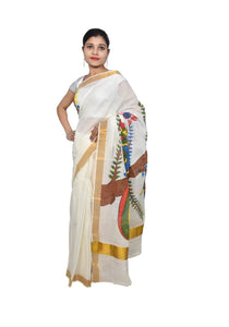 Designer Hand Painted Peacock Motif Kerela Cotton Saree KHP01 - Ethnic's By Anvi Creations