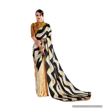 Load image into Gallery viewer, Abstract Off White  Printed Crepe Saree KK08 - Ethnic's By Anvi Creations