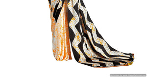 Abstract Off White  Printed Crepe Saree KK08 - Ethnic's By Anvi Creations