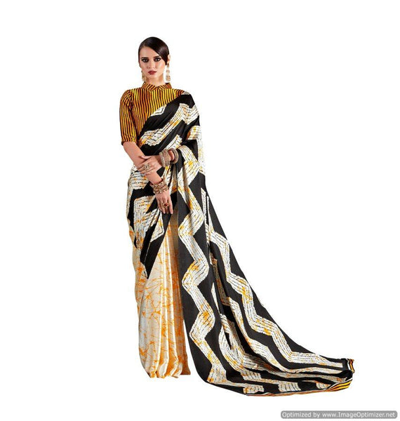 Abstract Off White  Printed Crepe Saree KK08
