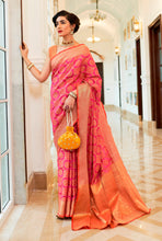 Load image into Gallery viewer, Designer Pink Patola Weave Heavy Look Silk Saree KM01