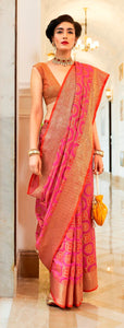 Designer Pink Patola Weave Heavy Look Silk Saree KM01