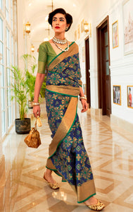 Designer Navy Blue Patola Weave Heavy Look Silk Saree KM06