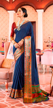Load image into Gallery viewer, Designer Navy Blue Silk Saree KN05
