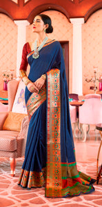 Designer Navy Blue Silk Saree KN05