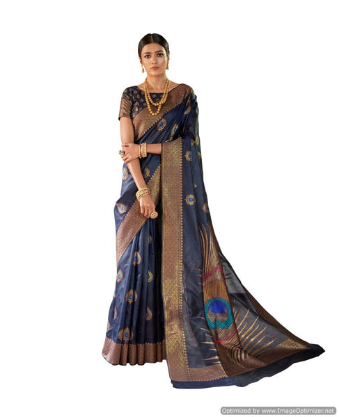 Soft Silk Blue Handloom Weaven Saree KS07